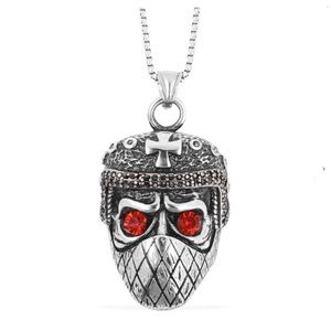 Red and Black Austrian Crystal Muzzled Skull